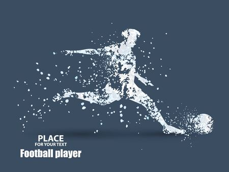 Football player, kick a ball, particle divergent composition Vetores
