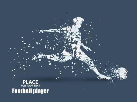 Jugador de fútbol, patear una pelota, composición divergente de partículas Ilustración de vector