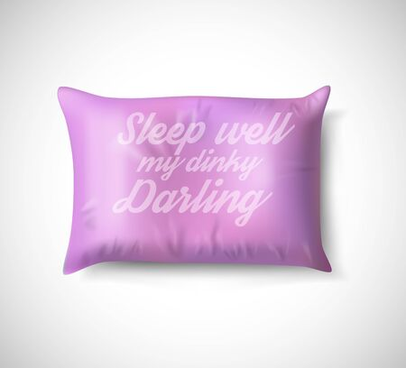 Pink pillow with text. Isolated cushion on white background. Vector illustration