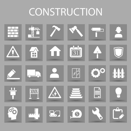 Vector flat icons set and graphic design elements. Illustration with construction, industrial, architectural, engineering outline symbols. Archivio Fotografico - 128475144