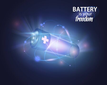 Power battery, full charge with lighting. Alternative energy.