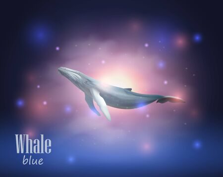 Blue Whale flying in space among the stars and nebulae