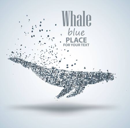 Blue whale ,particle divergent composition, isolated on white background Illustration