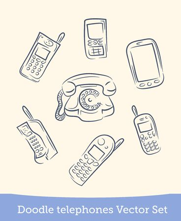 doodle phone set isolated on white background. Vector