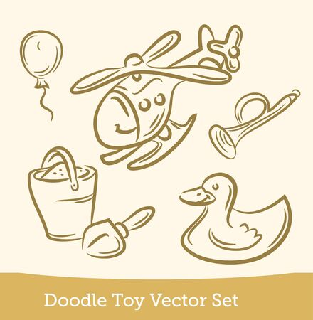 doodle Toy set isolated on white background. Vector 向量圖像
