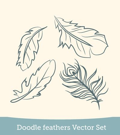 doodle feather set isolated on white background. Vector