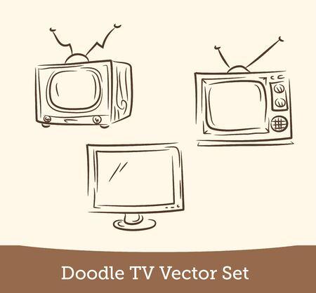 doodle TV set  isolated on white background. Vector EPS10