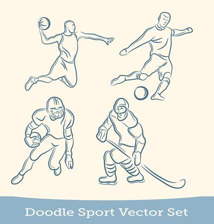 doodle sport set  isolated on white background. Vector EPS10 向量圖像