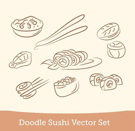 doodle sushi set  isolated on white background. Vector EPS10
