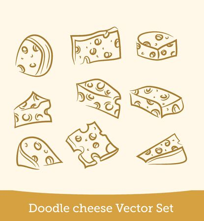 doodle cheese set  isolated on white background. Vector EPS10 向量圖像