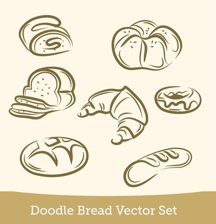 doodle bread set isolated on white background. Vector EPS10