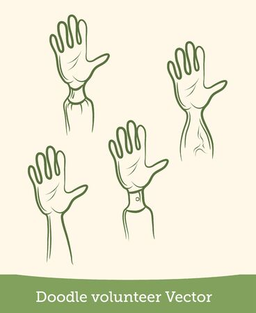 doodle volunteer arm set isolated on white background. Vector EPS10