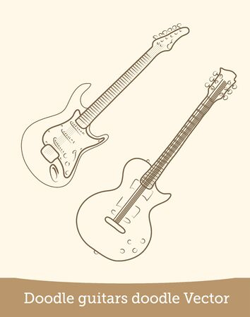 doodle guitar  isolated on white background. Vector EPS10