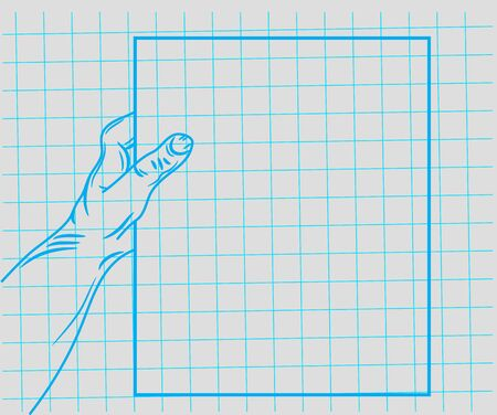 doodle hand holding a piece of paper. Vector EPS10