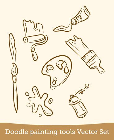doodle painting tools set  isolated on white background. Vector EPS10