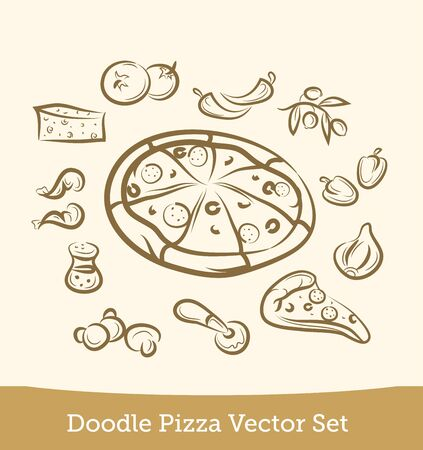 doodle pizza set isolated on white background. Vector EPS10