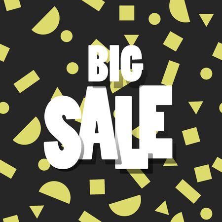 Sale black banner template design, Big sale . Super Sale, end of season special offer banner. vector illustration. - Vector 向量圖像