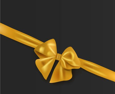 Minimal black Abstract background gold bow with ribbon.vector illustration EPS10 向量圖像