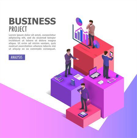 Teamwork assistant concept. Communication, economy project. isometric vector illustration. - Vector illustration