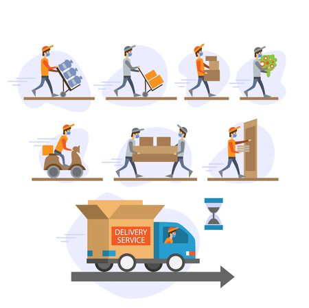 Online delivery service concept . Warehouse, truck, drone,online order tracking, scooter and bicycle courier, delivery man in respiratory mask.