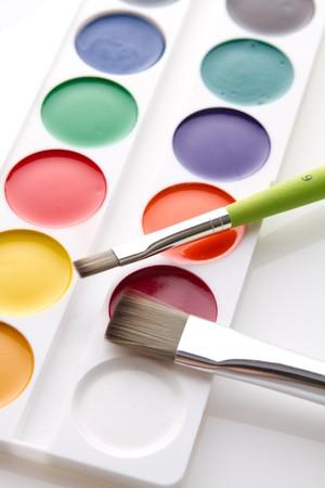 Box of children's water colour paints Stock Photo - 8026902