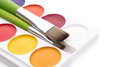 Box of children's water colour paints Stock Photo - 8027085