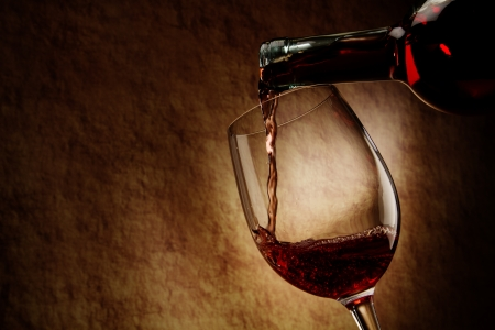 glass of bowl: Red Wine glass and Bottle
