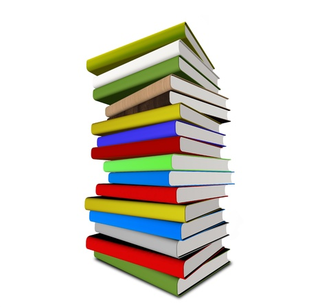 many coloured: colorful stack of books - 3d illustrationrendering