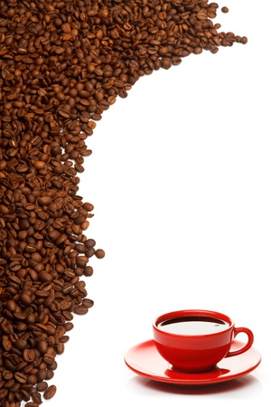 coffe bean: Red coffee cup and grain on white background Stock Photo