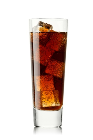 quench: Glass with cola isolated on white