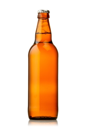dew cap: Bottle of beer with drops on white background. The file contains a path to cut.