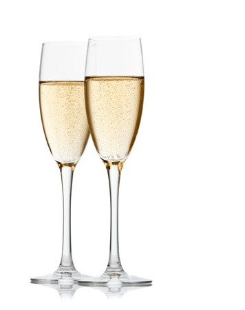 champagne glasses: Two glasses of champagne. Isolated on white backgroun