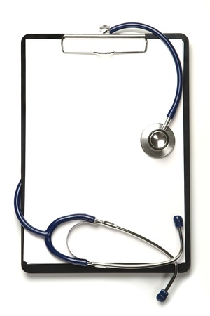 blank clipboard with modern stethoscope, space for messages photo