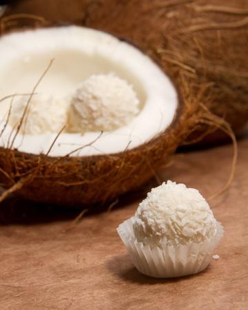 truffe blanche: truffes au chocolat blanc Banque d'images