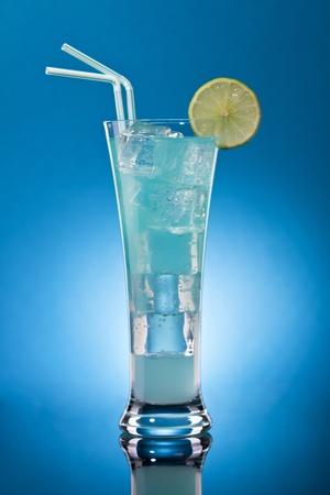 blue lagoon cocktail (rom, liqueur, lemon fresh ) photo