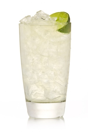 lemon water: Cocktail with lime and Ice isolation on a white