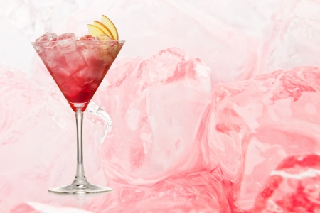 Cosmopolitan cocktail drink  with ice background