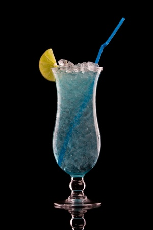 blue hawaiian drink: Blue Hawaiian cocktail on a black