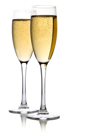 gold flute: A glass of champagne, isolated on a white background.