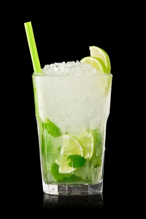 Mojito cocktail isolation on a black Stock Photo