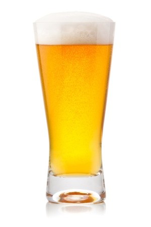 glass of beer: Beer into glass isolated on white