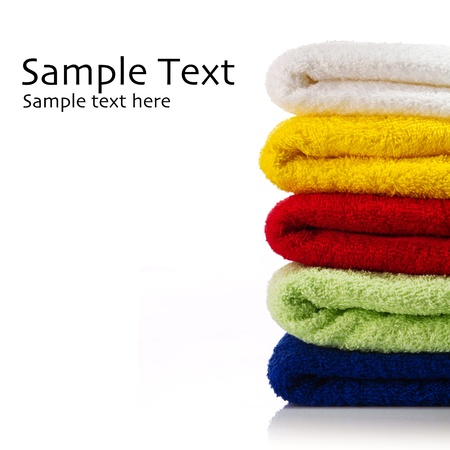 Towels on a white Stock Photo