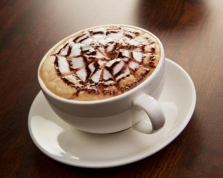 Chocolade cappuccino time.Cup van koffie