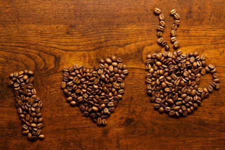 I love coffee inscription on the wooden table photo
