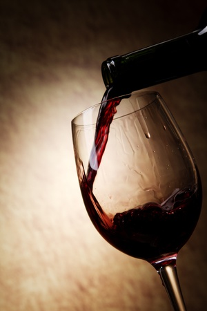 Red Wine glass and Bottle photo