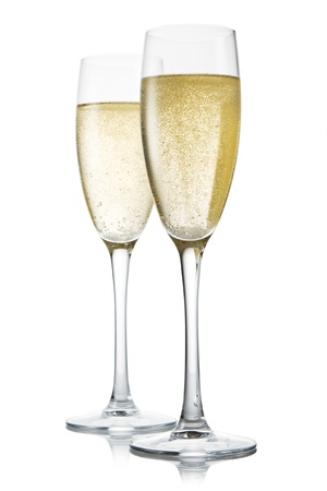 gold flute: Two glasses of champagne. Isolated on white backgroun