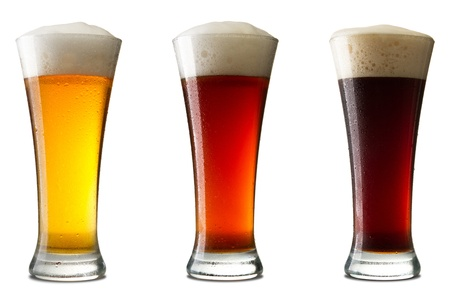 draught: Three cold beer, isolated on white