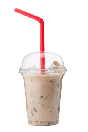A glass of cold Ice coffee with milk  ice Latte. photo