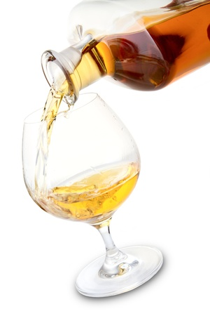 drunks: Cognac glass and bottle Stock Photo
