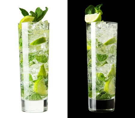 Mojito cocktail isolation on a white and black Stock Photo